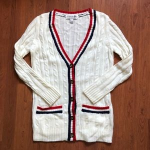 Forever 21 Cable Knit Button Front Knit Cardigan S